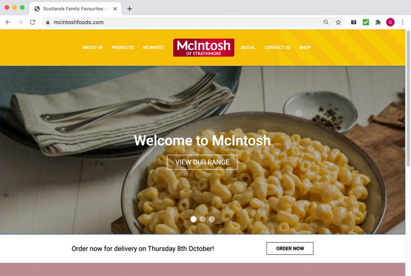 mcintoshfoods.com ecommerce web refresh